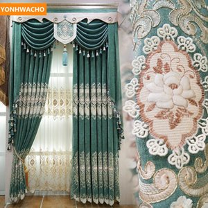 Custom curtains 3D embossed embroidery  gorgeous European chenille green cloth blackout curtain tulle valance drape B344