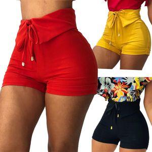 Womens 활 높은 허리 반바지 패널 스키니 솔리드 컬러 반바지 숙녀 섹시한 여름 의류