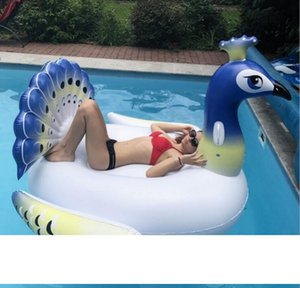 200cm inflatable peacock floats swim pool floating lounger bed INS hot sale party water toy fashion design inflatable air beach sofa chair