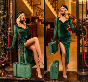Hunter Emerald Green Velvet Evening Dresses Long Sleeve Sexy High Slit Arabic Ankle-length Pleated Prom Runway Dress Robes