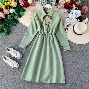 Women's Shirt Dress With Bow Long Sleeve High Waist Button Solid France Lady Elegant Midi Dresses Woman Vestido Female LS201 Y200805