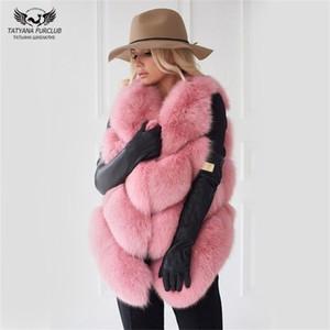 Tatyana Furclub 자연 조끼 코트 여성 진짜 여우 자켓 패션 따뜻한 여자 모피 Y201012