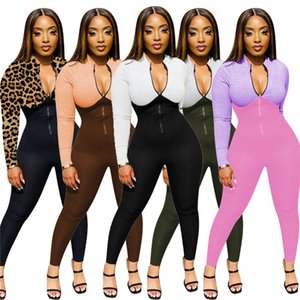 Plus Taille 2x Automne Winter Femmes Longues Sleeve Designer Jumpseau Casual Zipper Rompers Sexy Palapané Skinny Bodysuits Night Club Wear 4076