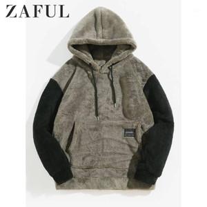 Zaful Men's Hoodies Holandês Bloqueio de Color - Bloqueio de Bolso Bolso Fofo Hoodie Outono Casual Cor Sólida Moletom Com Capuz Tops1