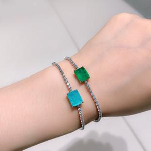 Beautiful 925 Silver Plated Emerald & Paraiba Tourmaline Bracelet Bangle For Women's Bracelet Engagement Wedding Gift Jewelry