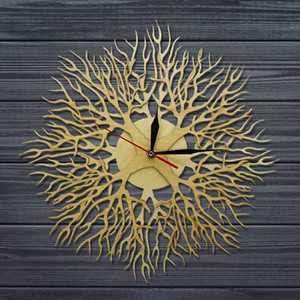 Lasered Engraved Wood Forest Masterpiece Tree Wall Clock Tree on The Clock Rustic Wood Art Decor Hanging Watch