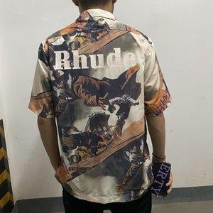 2021 Nuevo macho Kiryaquy Dye Tie Rhudo Western Cowboy Moda de algodón de alta calidad D29 Camisa de bolsillo GZXO