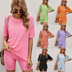 Womens Solid Color Tracksuit 2021 Mutil Color Ladies Two Piece Set Clothing Summer Short Sleeve T Shirts and Sexy Skinny Shorts