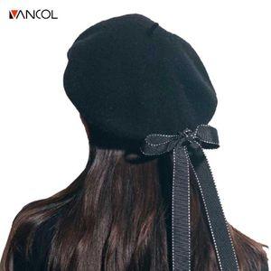Vancol 2020 Women Artist Beret Cap casquette ribbon bow Winter Vintage soft Felt Wool Beanie Hat Ladies Fashion Classic boina