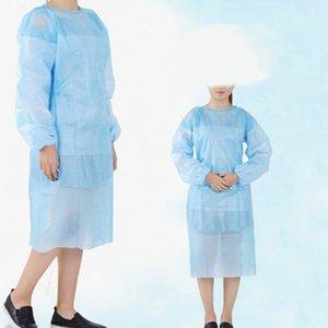 Impermeabile 10pcs blu isolamento isolato camicetta a maniche lunghe per adulti a manica lunga e antipolvere monouso blusa monouso # YL5 201201