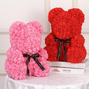 40CM Teddy bear of roses christmas decorations for home wedding bridal accessories clearance Scrapbooking artificial flowers 1022