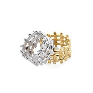 design européen et américain de style tissé haut de gamme exagérée large anneau version hommes or argent titane acier femmes index