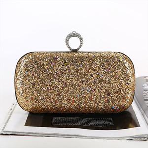 Golden Evening Clutch Bag Women Bags Wedding Shiny Handbags Bridal Metal Bow Clutches Bag Shoulder a3