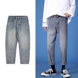 Men Korean Fashion Washed Jeans Pants Mens Japanese Streetwear Denim Pencil Slim Pants Men Casual Jeans