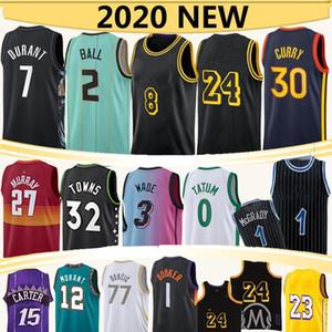 2 Ball 3 Wade 23 Jerseys de Basquete 24 NCAA 30 Curry 77 Doncic 12 Morant 15 Carter 1 McGrady 34 Antetokounmpo 2020-21 S-2XL