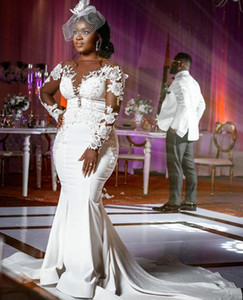 Plus Size Arabic Aso Ebi Cheap Lace Beaded Wedding Dresses Sheer Neck Mermaid Bridal Dresses Long Sleeves Wedding Gowns Vestido De Novia