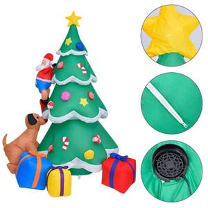 2.1m PVC Надувной Spree рождественской елки Надувные куклы Собака Укусы Climbing дерево Санта-Клауса рождественские украшения с светодиодные фонари