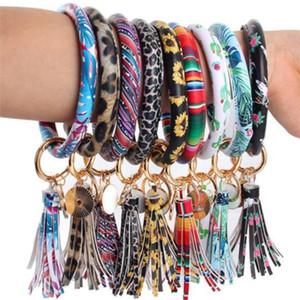 46styles Leather Bracelet Key Chain PU Wristr Round Key Ring Tassel Pendant Leopard Bufflao Wristband Keychain Bracelets Key Rings y2626