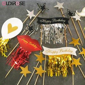 Glitter Cinta Tassel Cake Topper Feliz Cumpleaños Pasteles Top Flags Balloon Labios Horneado Decoración Cumpleaños Boda Suministros