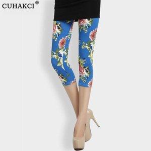 CUHAKCI Women Fashion Slim High Waist Pants Calf Length Sexy Floral Printed Leggings Elastic Fitness Plus Size Legging XXL Mujer