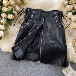 PU Deri Etek Kadın 2020 Moda Sonbahar Kış Siyah Dantel-up Bandaj Yüksek Bel Ön Fermuar Mini Bodycon Etek
