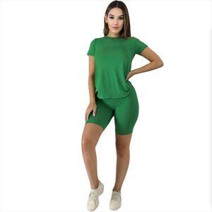 Lemon Summer Solid Cotton Two Piece Set Women Short Sleeve O Neck Tops amp; Pencil Shorts Suits Casual Sporty Cotton Tracksuit