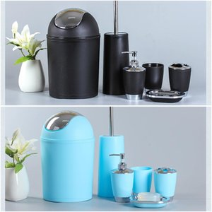 Bathroom Accessories Set 6 Pieces Plastic Gift Set Toothbrush Holder Toothbrush Cup Soap Dispenser Hand Sanitizer Bottles