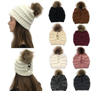 16style Criss Cross Pom Pom Beanies Women Girl Winter Knitted Hats Outdoor Ponytail Beanie Detachable Pompom Hat Knit Cross Cap OWC2670