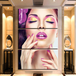 3 Pieces Make Up Sexy Women Poster Picture Home Decoration Wall Art Posters And Prints Picture Giclee Artwork Canvas Painting