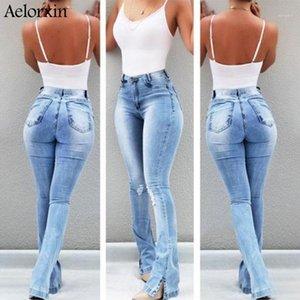 Frauen Jeans Frau 2021 Retro Wash Elastic Hips Südamerikanische Stil Wide Bein Flare Plus Size Frauen Jeans1