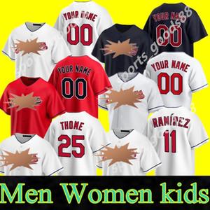 2020 Jim Thome Jersey Brad Hand Shane Bieber Carlos Santana Mike Clevinger Bradley Zimmer Jay Bruce White Baseball Trikots Individuell genäht