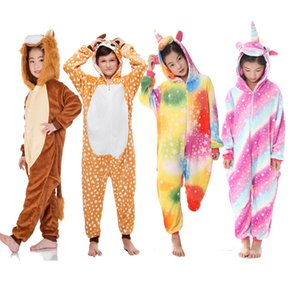 4-12 Jahre Kinder-Einhorn Onesie Panda Unicornio Flanell Animal Girls Kinder Negligés Pyjamas