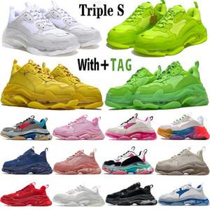 2020 Новое поступление мода кристалл нижний Paris 17W Triple S женщин мужская повседневная обувь винтажная папа платформа для платформы кроссовки дизайнерская плоская обувь