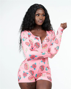 2021 Love Leopard Print Onsies Pajamas for Women's Spring Fall Sexy Slim Long Sleeve Shorts Bodycon Rompers Sleepwear Nightgown