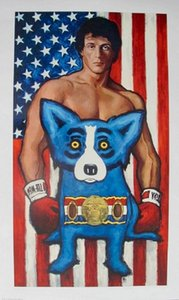 Top Quality SYLVESTER STALLONE & GEORGE RODRIGUE BLUE DOG ROCKY Art Oil Painting On Canvas Multi sizes Home decor pictures Framed &Unframed