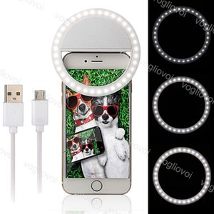 Selfie Ring Lights DimMable USB Ricaricabile 3 Modalità Telefono per cellulari Portatile Flash Ring Clip Light Beauty Live per iPhone Xiaomi DHL
