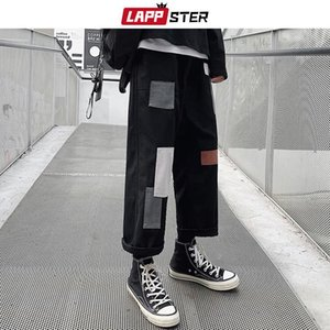 LAPPSTER Men Patchwork Korean Harem Pants 2020 Mens Chic Harajuku Black Sweatpants Joggers Male Hip Hop Casual Cargo Pants