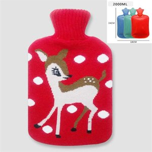0.5 1 2l Cute Christmas Cartoon Hot Water Bottle With Knit Bottle Cover Large Capacity Household Rubber Warm Hand Home Winter jlloAO
