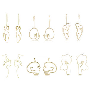 VG 6YM Punk Style Body Drop Earrings For Women Retro Abstract Hollow Out Statement Hand Metal Fashion Dangle Earring Jewelry New