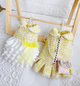 Handmade Lemon Yellow Tweed Dog Clothes Pet Coat Princess Dress Outfit Cake Skirt C**L Style Chain Bag Accessories 3 Choice