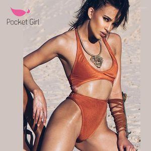 2020 النساء قطعة واحدة ملابس السباحة ثونغ trikini ارتداءها المواد الخاصة المخملية مثير monokini الخامس الرقبة ملابس السباحة البرازيلي شاطئ