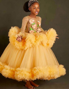 Yellow Sheer Neck Flower Girl Dresses Hand Made Flowers Little Girl Wedding Dresses Cheap Communion Pageant Dresses Gowns F218