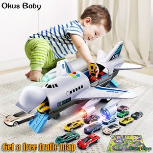 Music Lights Simulation Track Inertia Children's Toy Aircraft Large Size Passenger Plane Kids Airliner Toy Car Free Gift Map Q0109