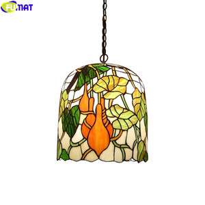 FUMAT Antique Tiffany Style Pendant Lamps Leaf Fruits For Dinning Room Hanging Light Fixture Bell Shade Colorful Stained Glass