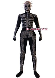 Donne Dance Performance costume piuma Skull Halloween Mask tuta fase Gogo Piombo Dancer Nightclub Costume Singer