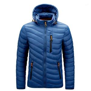 الرجال سترة مبطن القطن مقنعين معطف الشتاء خفيفة الوزن 1
