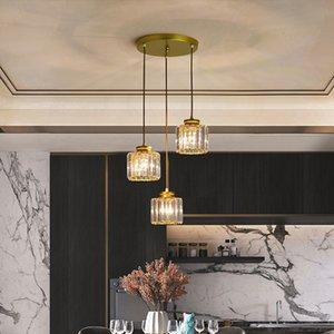 2021 NUOVO Moderno Nordic K9 Cancella lampadario di cristallo trasparente sala da pranzo bar Chandeliers Lighting Fixtures Home Round Pendant Decoration Hanglamp 8ehu