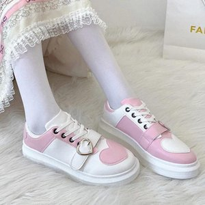 Heart-shaped women's shoes sweet lolita Sneakers Women Platform Lolita Love Shoes College Style Student Uniform shoes Harajuku #rx2D