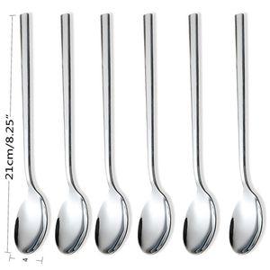 Eco-Friendly 6pcs Aço Inoxidável Jantar Spoons Cabo longo Colher de Chá Café Leite Chá Spoons coreana Rodada Soup Sobremesa Tea Spoons BWE2498