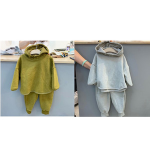 Free DHL Korean Style INS Little Girls Outfits Sets Pure Cotton Stylish Fashions Hoodies Pants 2Pieces Suits Children Clothing 548 K2